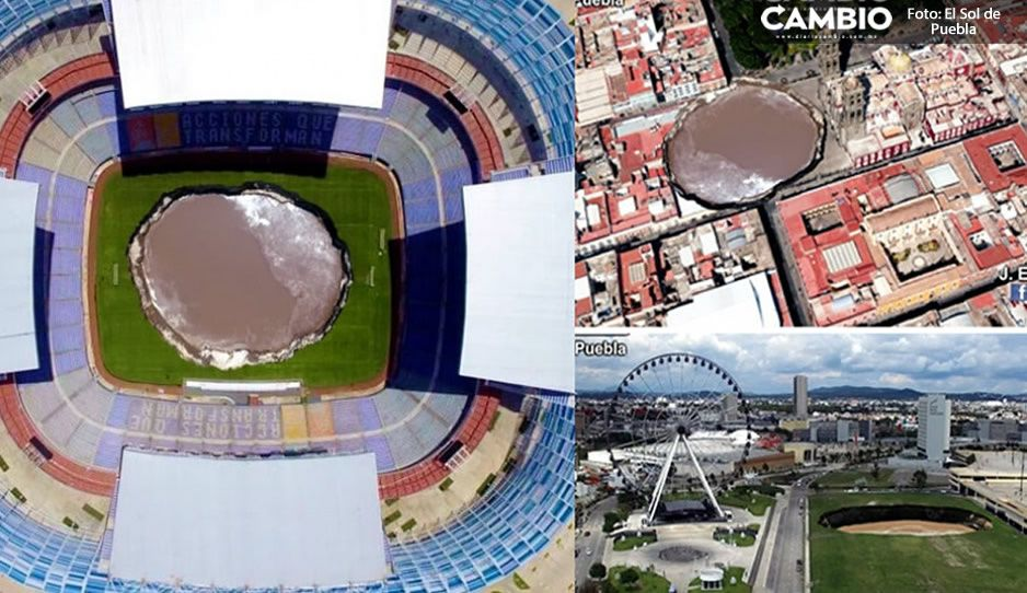 FOTOS: Así se vería el socavón en el Estadio Cuauhtémoc, La Estrella de Puebla y la Catedral