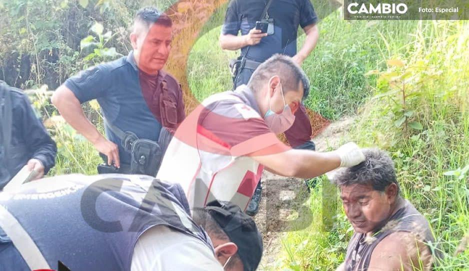 ¡Sobrevivió de milagro! Hombre cae a barranca en Xicotepec y vive para contarlo