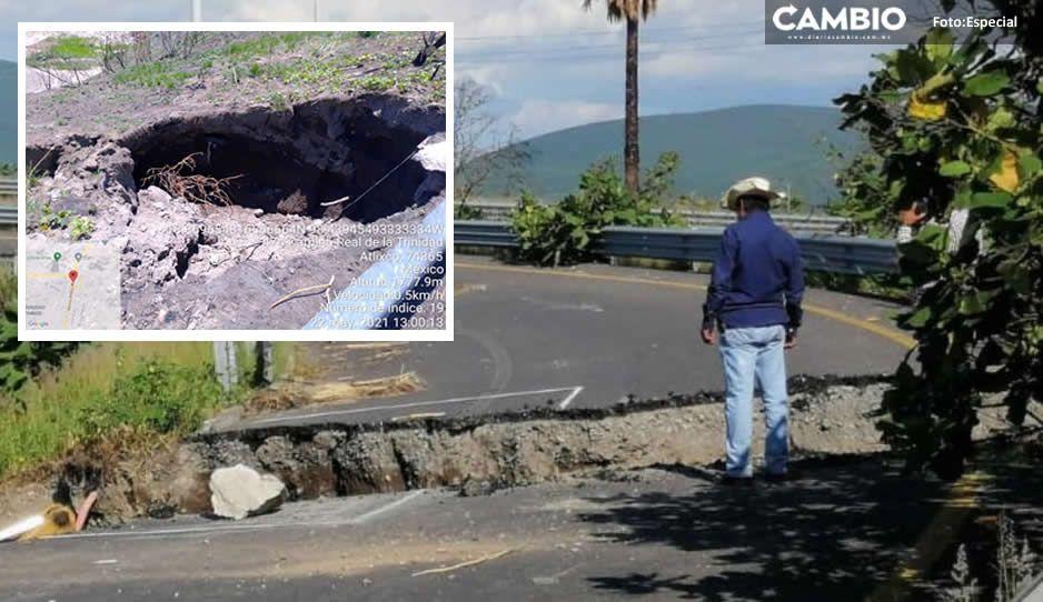 No es Socavón, estas son las causas del desgajamiento en carretera Izúcar- Atlixco