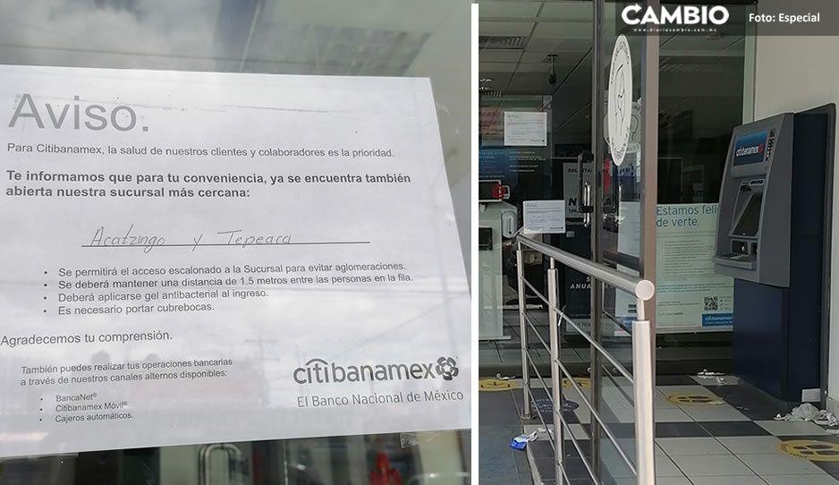 HSBC y CitiBanamex cierran ante alza en contagios por Covid en Tepeaca y Tecamachalco