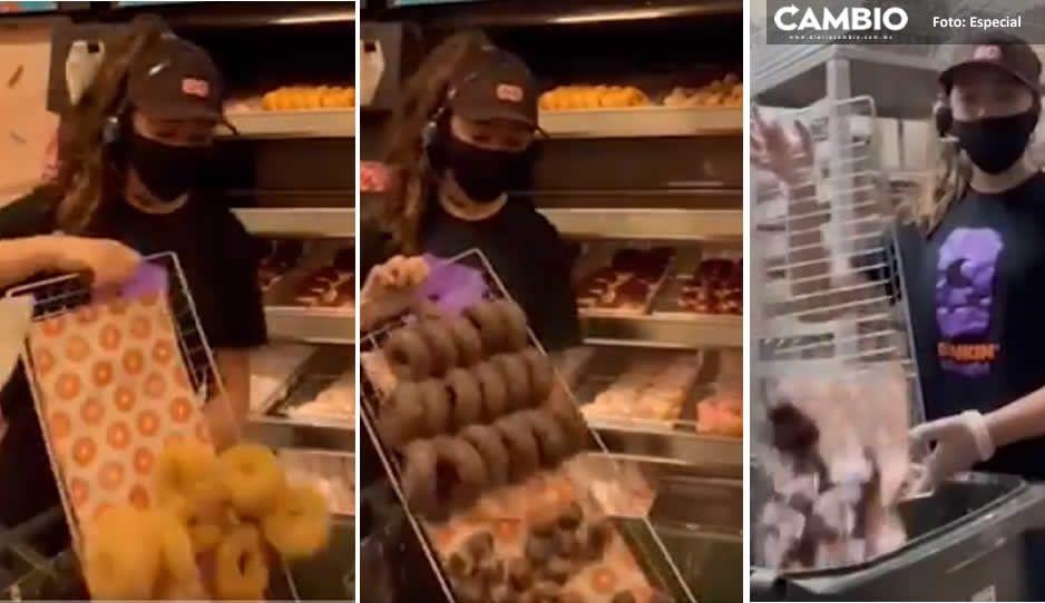 Difunden en VIDEO como Dunkin Donuts tira a la basura charolas llenas de donas