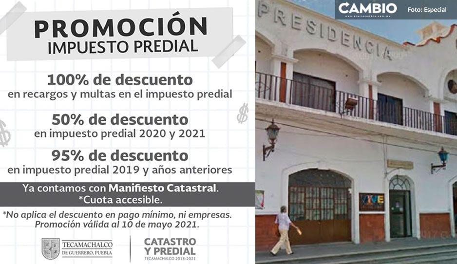 ¡Atención! Ayuntamiento de Tecamachalco ofrece descuentos en pago de Predial