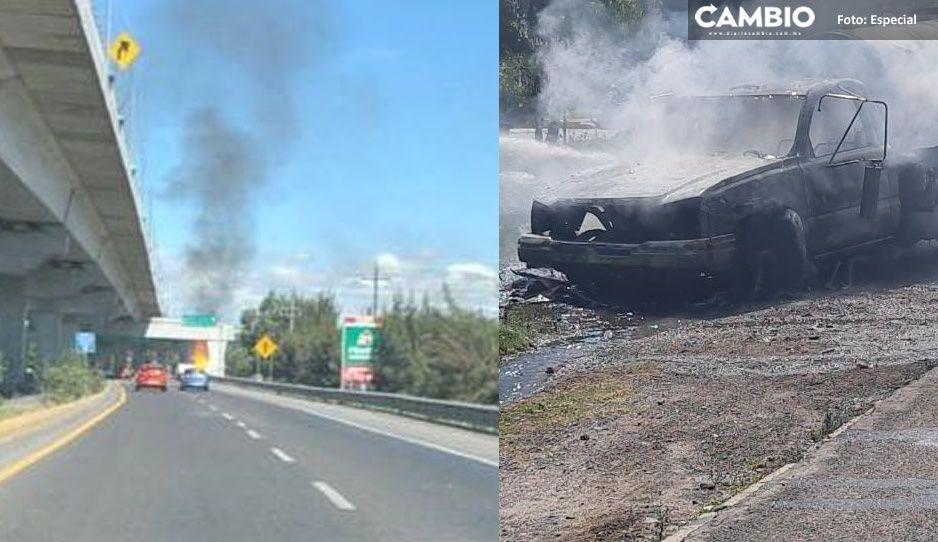 Se incendia pipa de gas en la México-Puebla; autos huyeron por miedo a que explotara