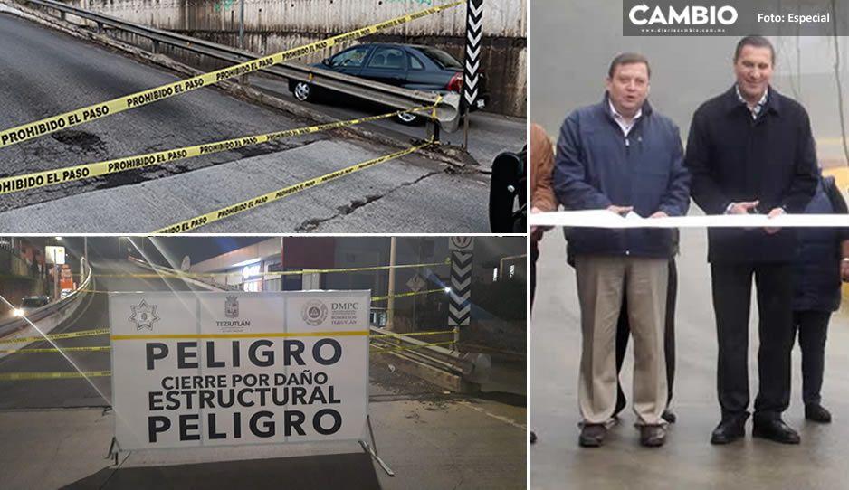 Obra de Toño Vázquez a punto de colapsar: cierran el puente Minera Autlán en Teziutlán (VIDEO y FOTOS)