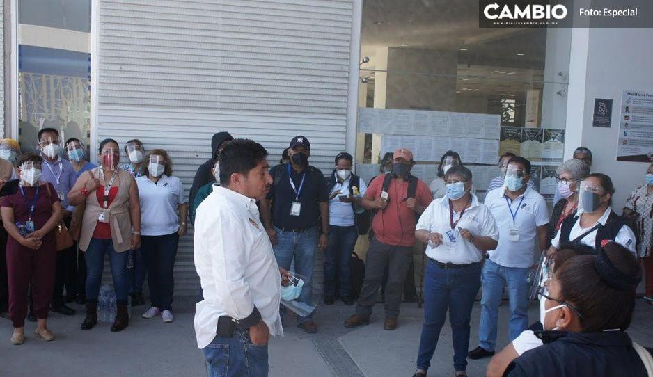 Integrantes del SNTSA exigen a Barbosa vacuna AntiCovid en Tehuacán