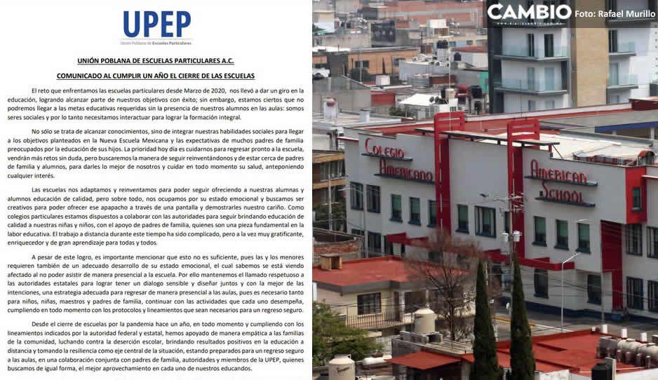 Escuelas particulares de Puebla ruegan por el regreso a clases presenciales