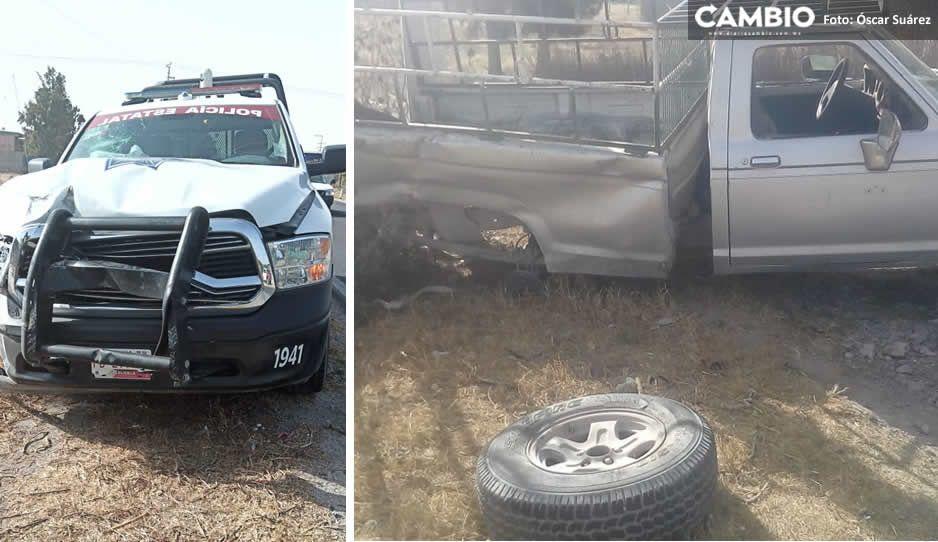 Tremendo choque entre patrulla y camioneta en Tecamachalco; un abuelito resultó herido