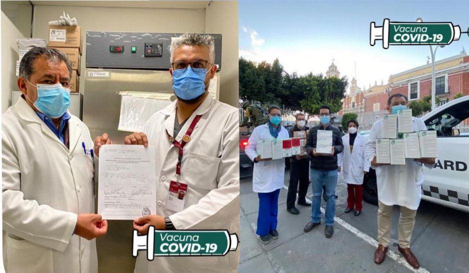 Entrega Sedena primeras dosis de la vacuna para médicos poblanos al IMSS y al ISSSTE