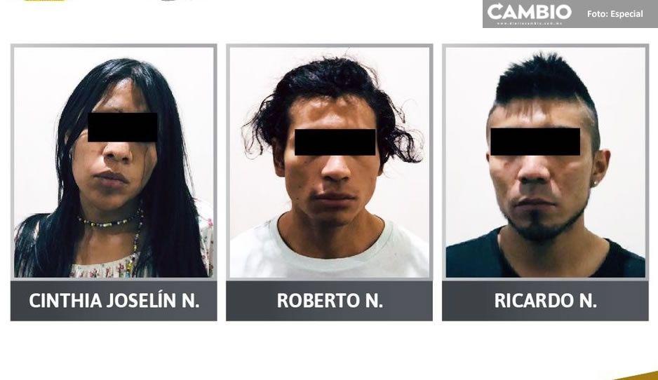 A Cinthia, Roberto y Ricardo les hallaron más de 120 dosis de piedra, cristal, marihuana y heroína