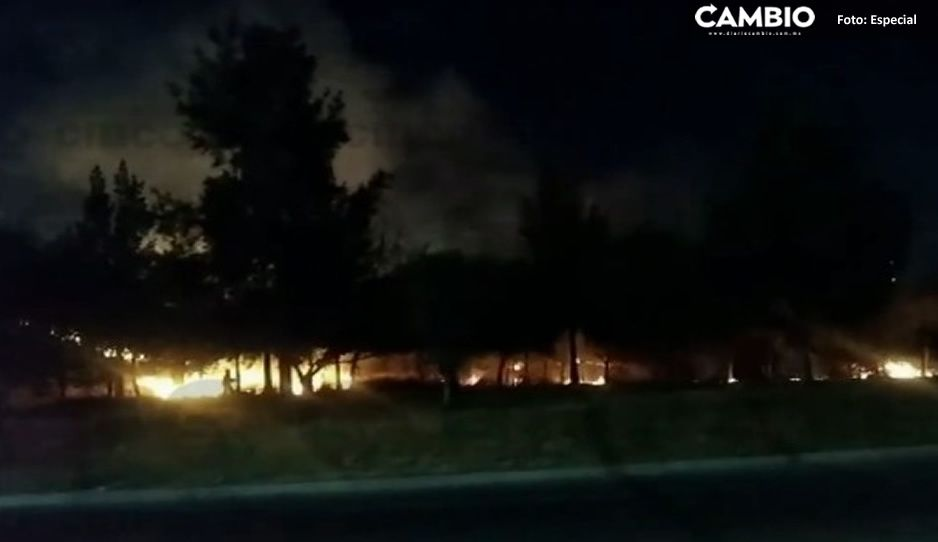 Aparatoso incendio en pastizal genera temor entre habitantes de Tlaxcalancingo