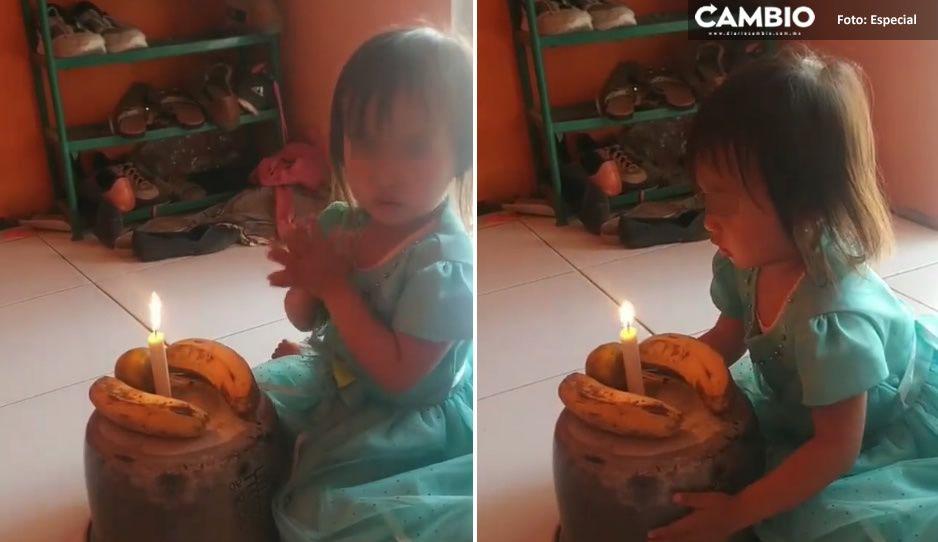 ¡Lo más tierno que verás! Papás improvisan 'pastel' con plátanos para festejar cumple de su hijita