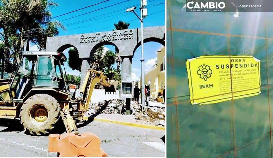 INAH clausura obras en el Zócalo de Cuautlancingo