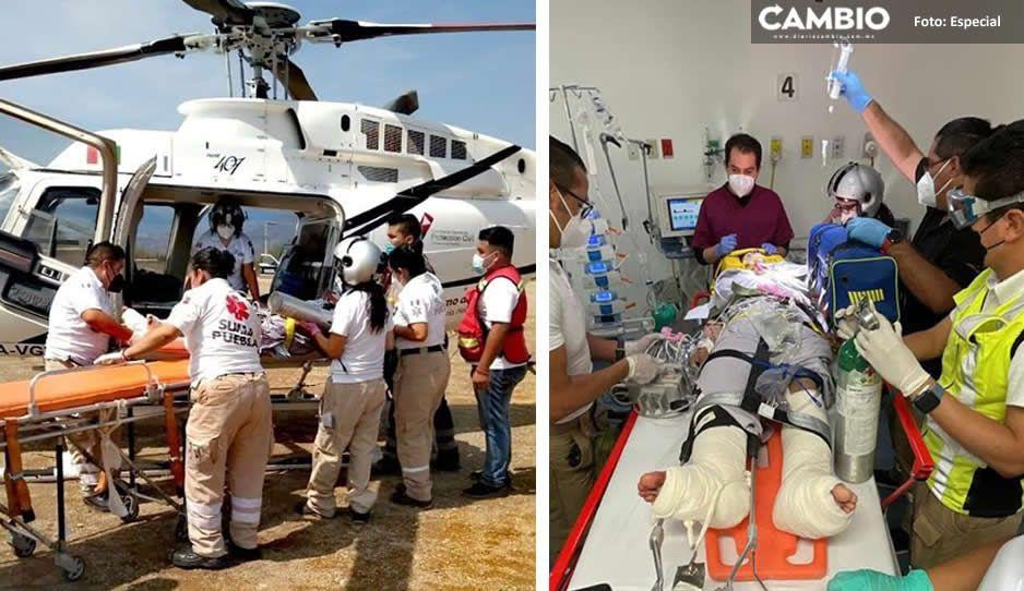 Tras fatal accidente, trasladan a químico del Hospital Integral de Coxcatlán a Puebla (FOTOS)