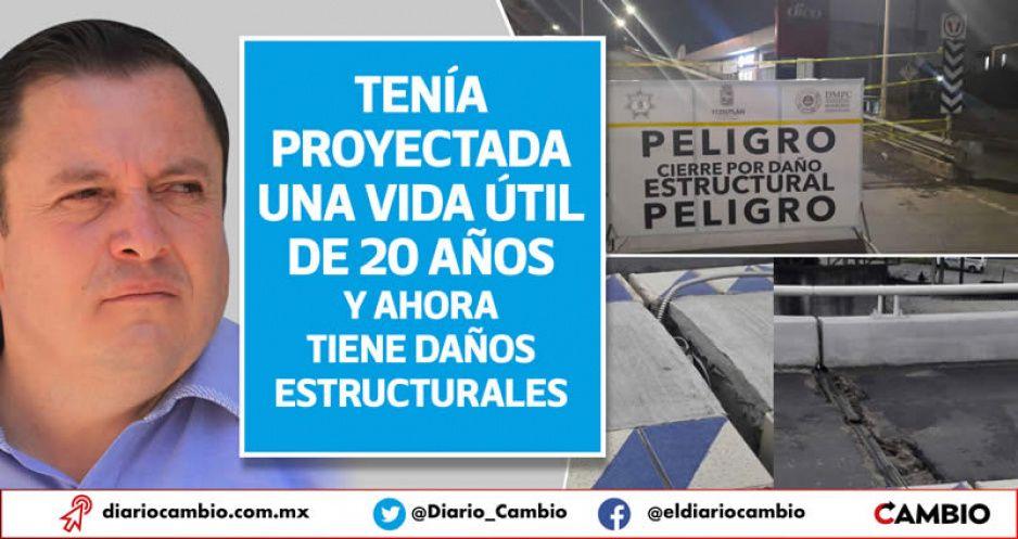 Peligro de derrumbe: cierran puente construido por Toño Vázquez en Teziutlán (FOTOS Y VIDEO)