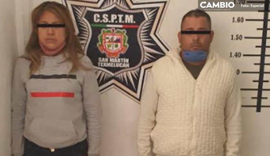 Detienen a pareja de ladrones en Texmelucan; asaltaban con pistola y navaja en mano