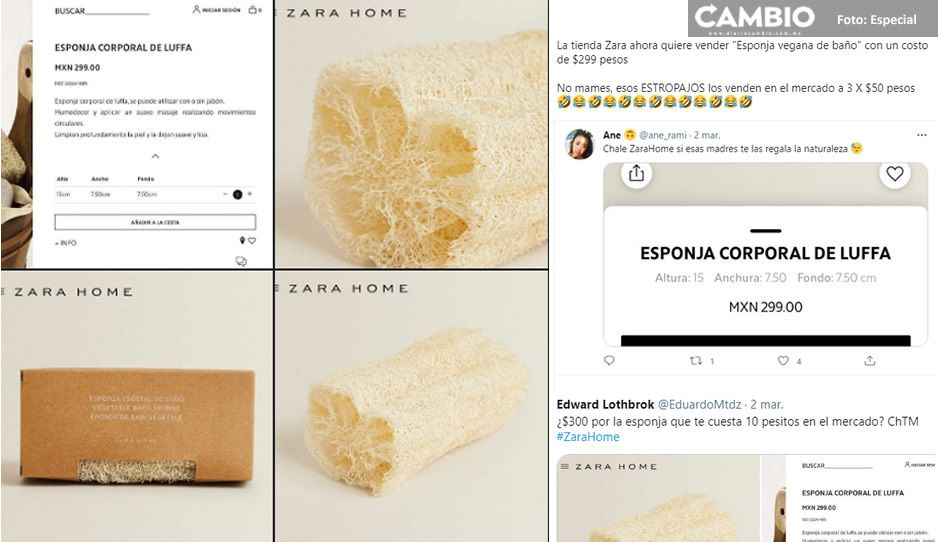 Zara Home vende estropajo natural en 299 pesos y le llueven críticas