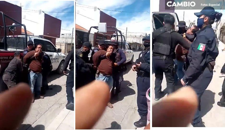 ¡Lo agarraron como puerco! Detienen a gasero en Altepexi y la población enardece (VIDEO)