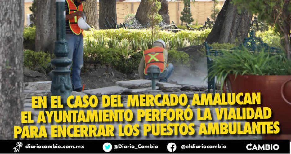 Arrancan obra en el zócalo, levantan lajas; todavía no hay permisos ambientales (FOTOS)