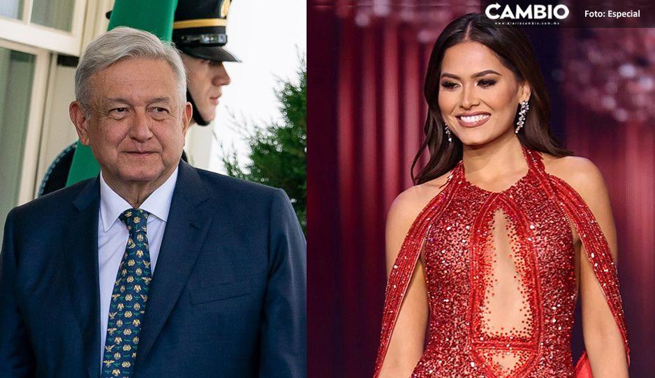 ¡Es la más guapa! AMLO felicitó a Andrea Meza por ganar la corona de Miss Universo