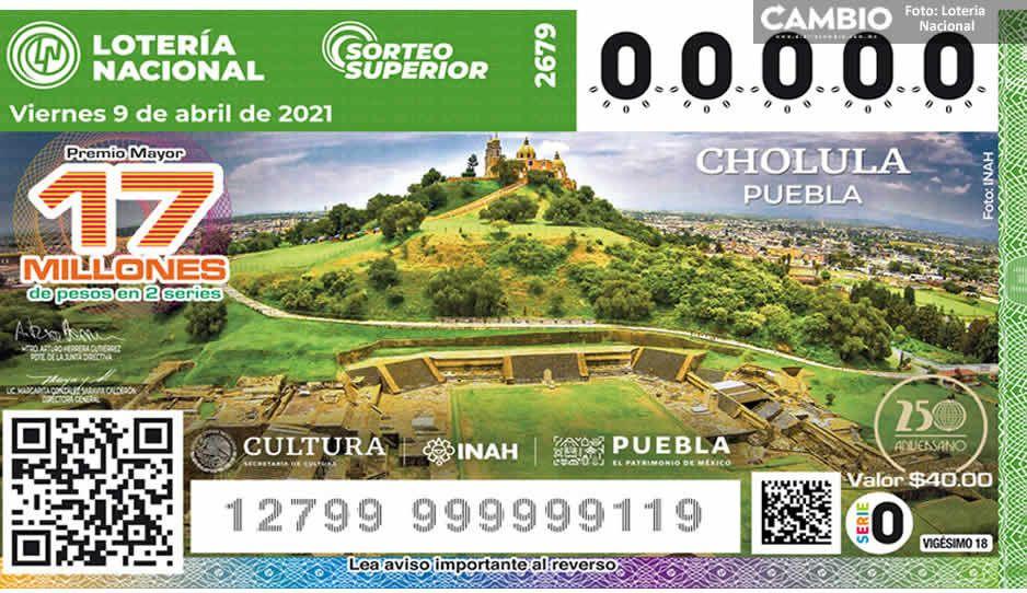 ¡Orgullo poblano! Pirámide de Cholula circula en nuevo billete de lotería