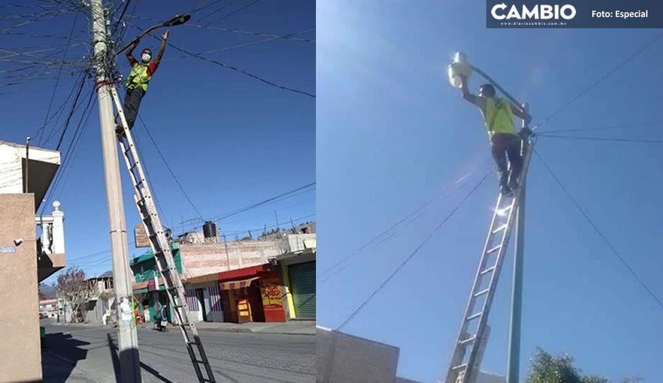 Empresa niega garantía de luminarias en Tehuacán por intervención de reparador patito