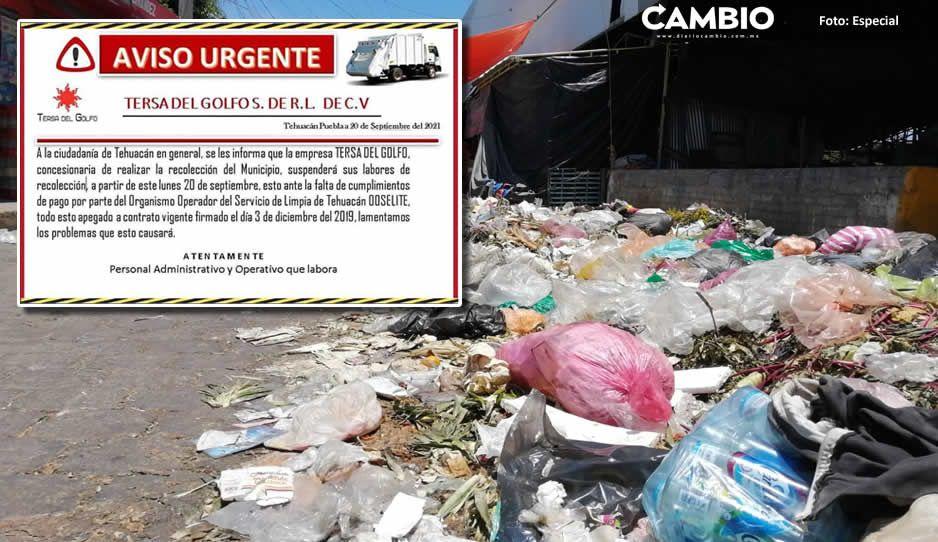 Se avecina el cochinero en Tehuacán: suspenden recolección de basura por deuda del Ooselite