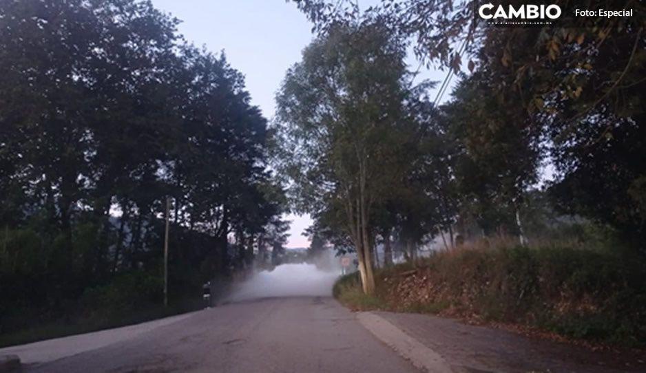 Parece densa neblina; terrible fuga de gas pone en alerta a más de 20 familias en Tetela
