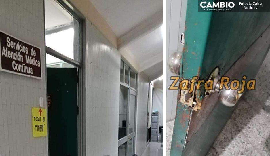 Asaltan clínica del IMSS en Atencingo; delincuentes rompieron cerraduras y puertas