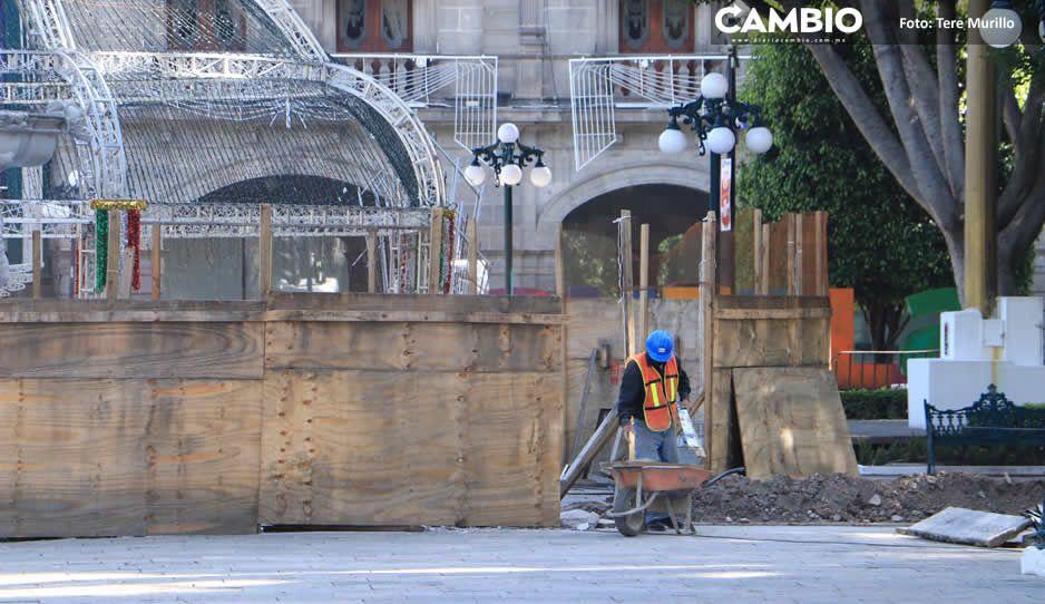 Sedatu no terminó remodelación del Zócalo y hace quedar mal a Claudia (FOTOS)