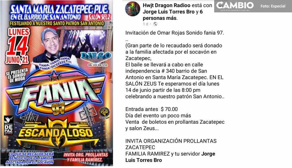Vecinos de Zacatepec se deslindan del baile organizado por Fania 97