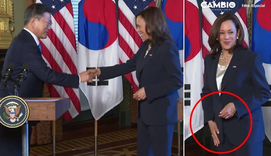 VIDEO: Captan a Kamala Harris limpiando su mano tras saludar al presidente de Corea del Sur
