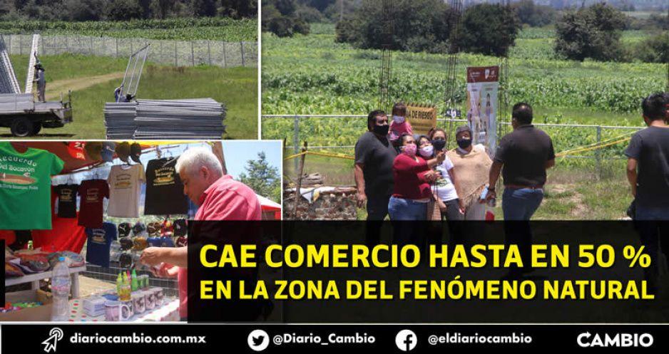 La malla protectora del socavón inhibe a visitantes y bajan ventas en Juan C Bonilla (FOTOS Y VIDEOS)