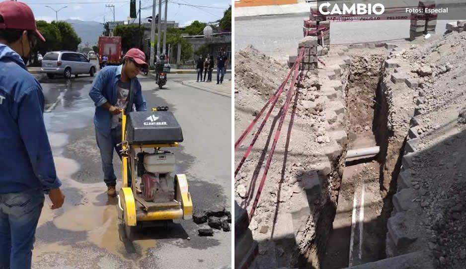 Oosapat convierte calles de Tehuacán en muladares, deja 29 obras en el limbo