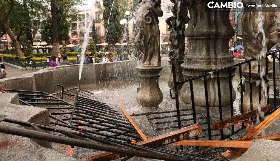 Así quedó la Fuente de San Miguel tras ser vandalizada por feministas (VIDEO)