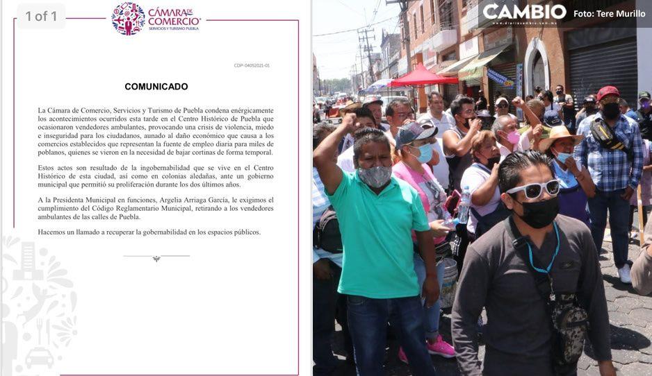 Canaco condena la súper trifulca entre ambulantes en el Centro Histórico