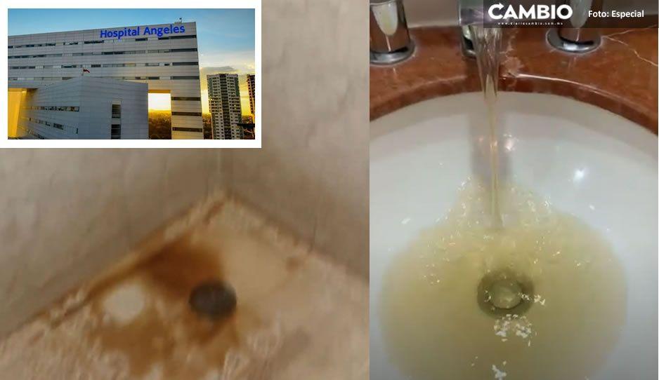 ¿No que muy fifí? Parecen aguas negras; así sale el líquido de los lavabos del Hospital Ángeles (VIDEO y FOTOS)