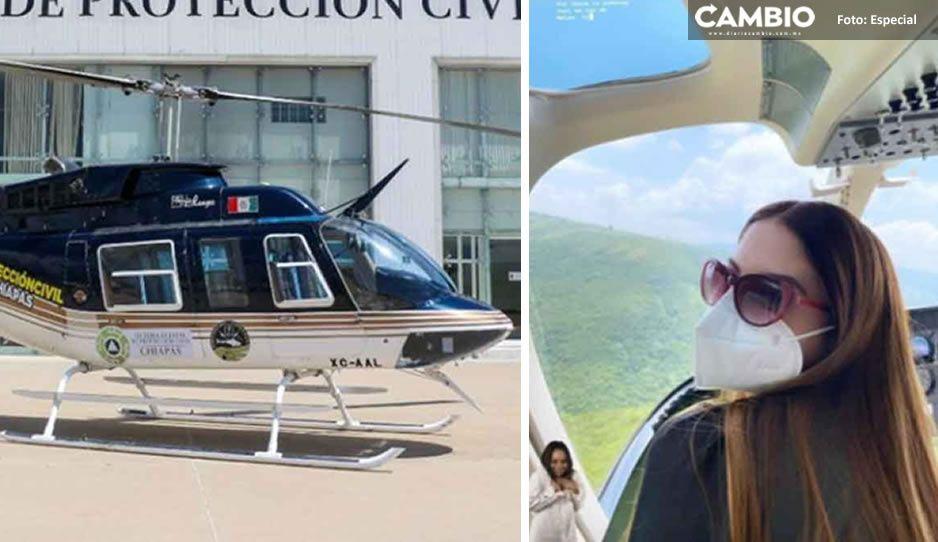 Esposa de funcionario del IMSS pasea en helicóptero que transportaba vacunas Covid