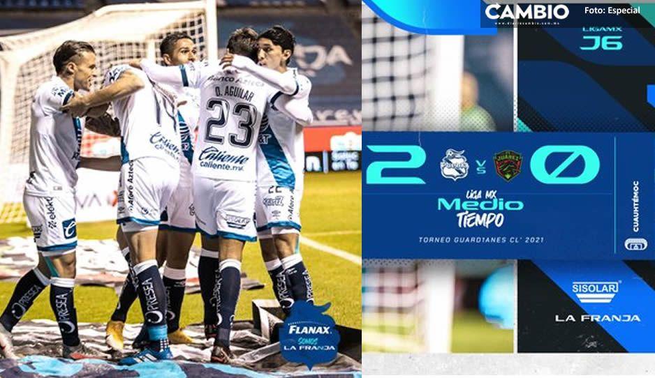 Club Puebla aventaja a Bravos de Juárez 2-0, en el primer tiempo