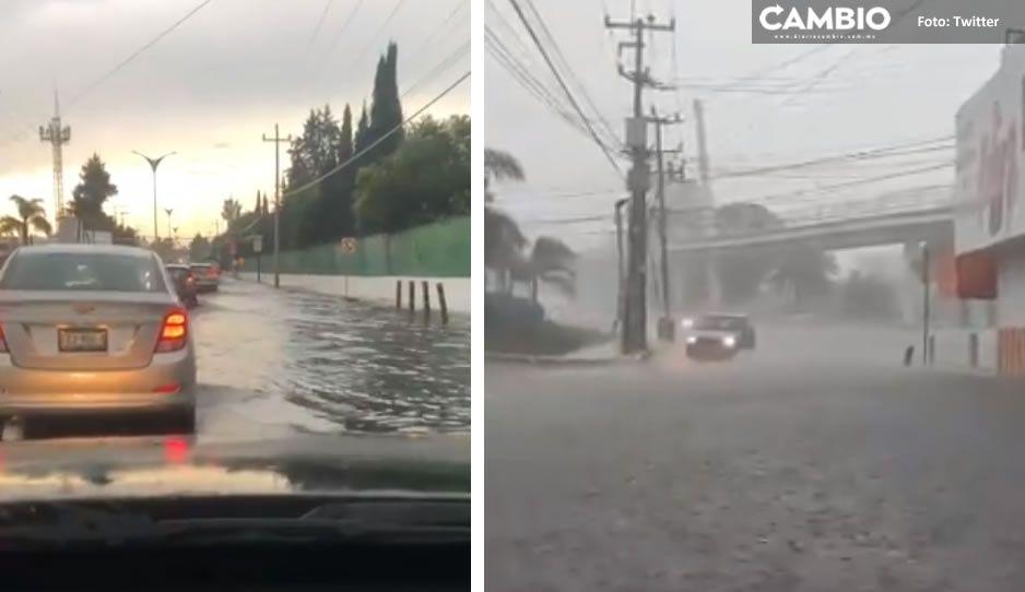 VIDEO: Fuerte lluvia provoca inundaciones en Boulevard Forjadores, Hermanos Serdán y Cuautlancingo