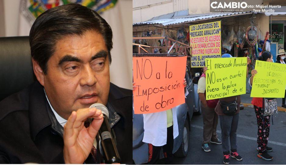 Gobierno de Barbosa destraba conflicto con locatarios para demolición del mercado Amalucan