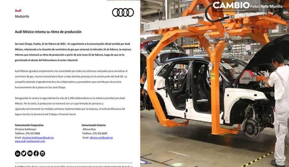 Reinicia Audi producción de Q5 tras garantía de suministro de gas