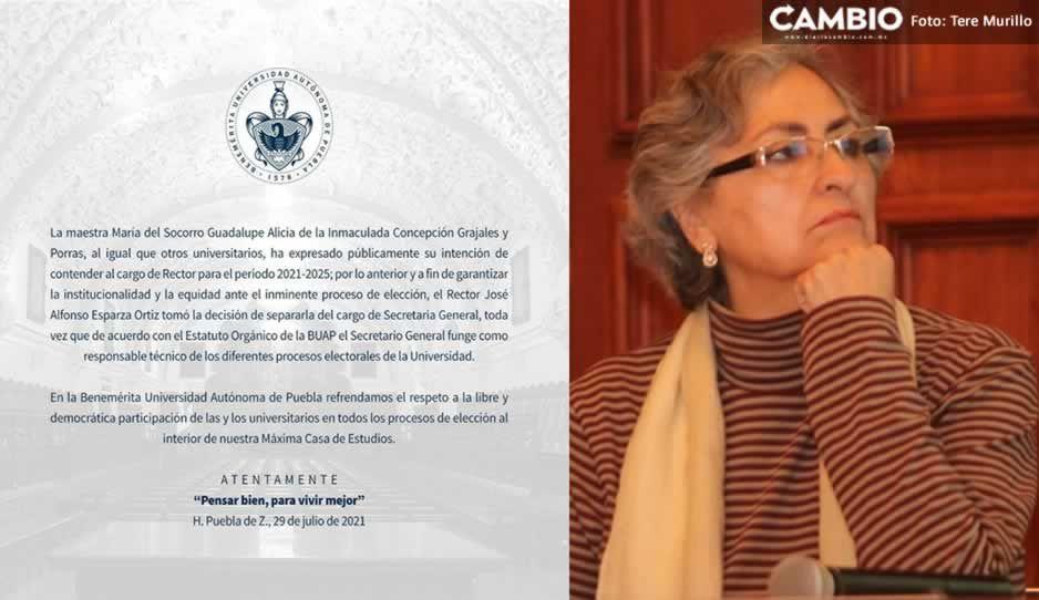 Separa Esparza a Lupita Grajales de la Secretaría General tras destaparse a la rectoría BUAP