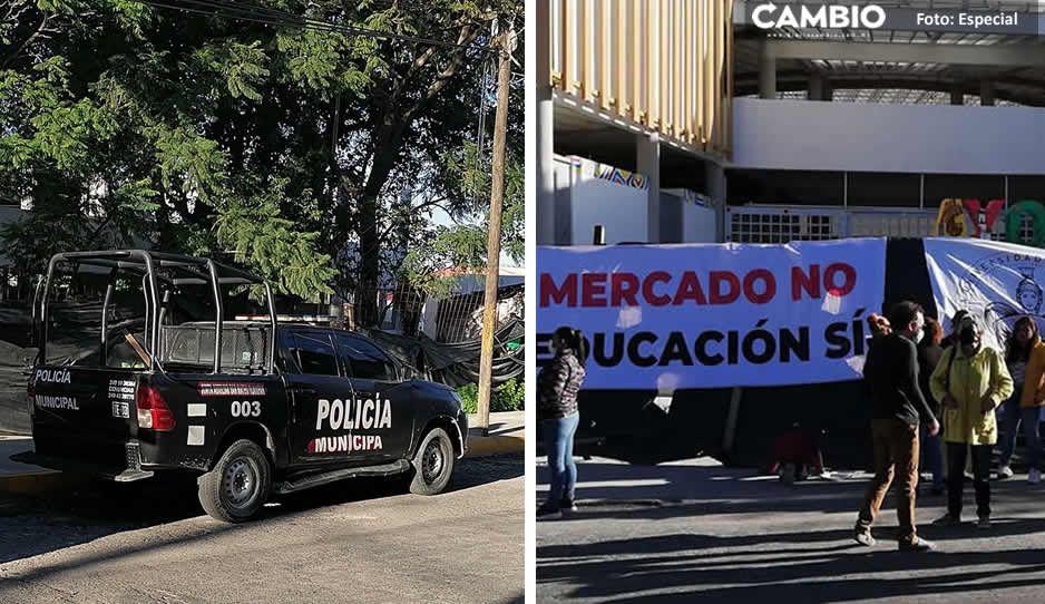 Roban camioneta violentamente mientras policías vigilaban manifestación vs mercado Ayocuan