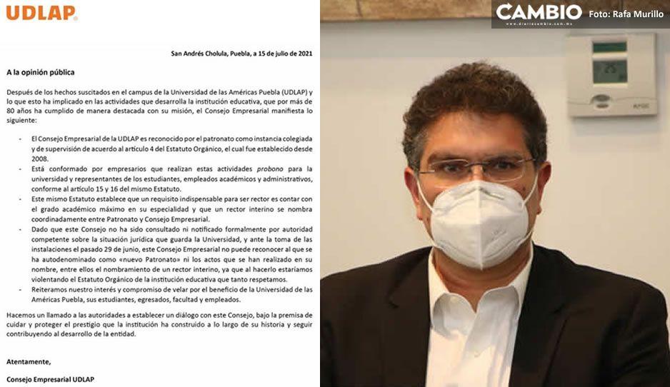 Consejo Empresarial de la UDLAP desconoce a Ríos Piter y a nuevo Patronato