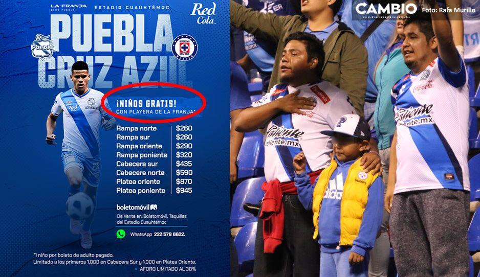 Puebla expone a niños al contagio: regalará dos mil boletos a enfranjaditos para duelo ante Cruz Azul