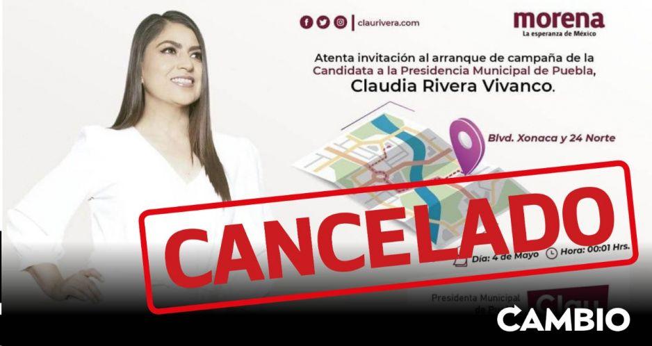 Cancela Claudia Rivera su primer evento de campaña por carecer de registro ante el IEE