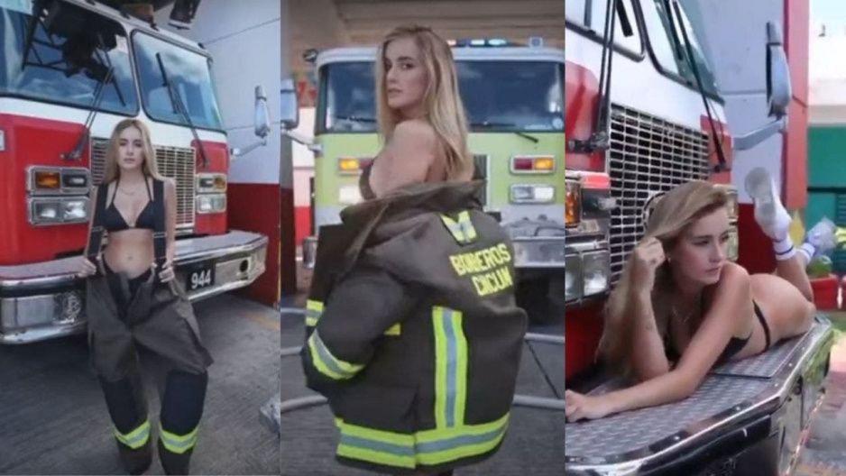 VIDEO: Argentina modela en central de bomberos de Cancún y destituyen al director