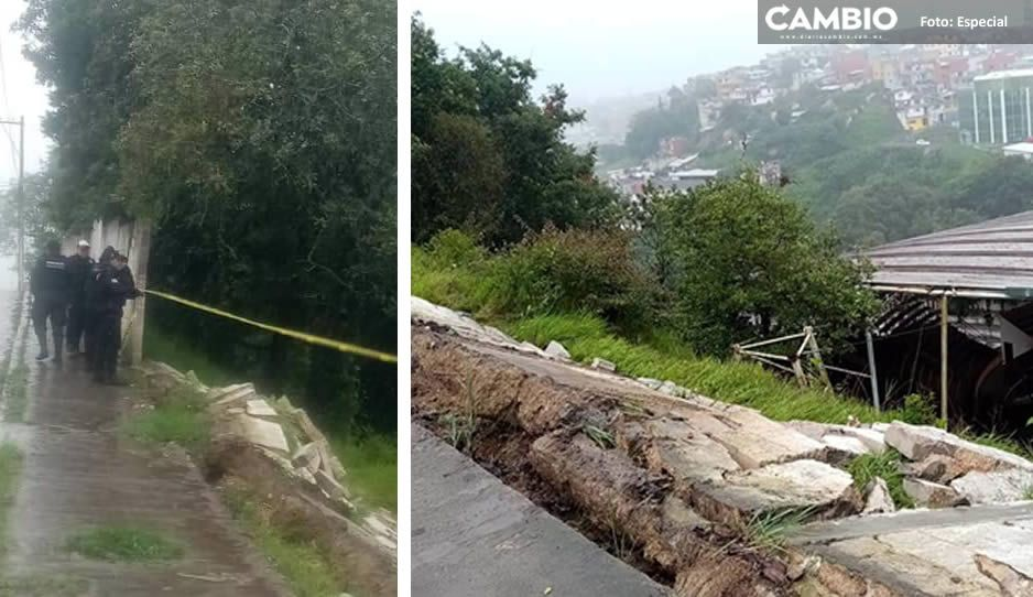Intensas lluvias colapsan barda de plaza de toros en Zacapoaxtla