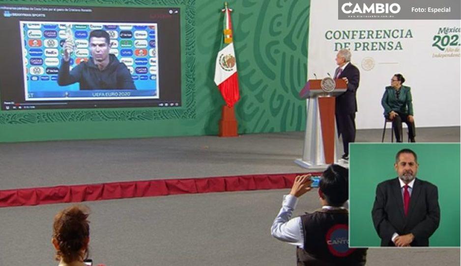 AMLO usa VIDEO de Cristiano Ronaldo rechazando Coca-Cola como campaña contra obesidad