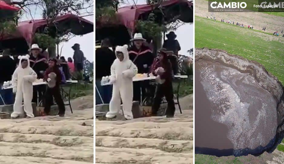 VIDEO: Disfrazan a niños de perritos 'Spay y Spike' para atraer turistas al socavón de Zacatepec